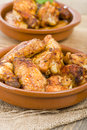 Pollo al ajillo garlic chicken wings traditional spanish tapas dish Stock Images