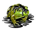 Polluted fauna and oil disaster victim concept as a dirty green frog with black crude petroleum liquid dripping from its amphibian Royalty Free Stock Photography