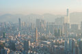 A polluted Hong Kong cityscape seen from the top of Beacon Hill, Kowloon Royalty Free Stock Photo