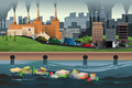Pollution concept a vector illustration of in the city for Royalty Free Stock Image