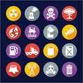 Pollution Icons Flat Design Circle