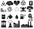 Pollution icons set Royalty Free Stock Photography
