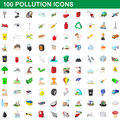 100 pollution icons set, cartoon style