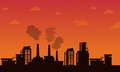 Pollution industry on orange background