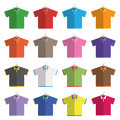 Polo shirts collection of flat design three button on hangers isolated on white with transparencies Royalty Free Stock Images