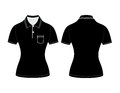 Polo woman shirt design templates (front and back views) Royalty Free Stock Photo