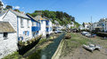 Polperro cornwall a view of the harbourside in the english village of Royalty Free Stock Image