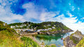 Polperro panoramic a view of devon Royalty Free Stock Image