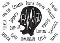Polyglot. Vector illustration in flat style Royalty Free Stock Photo