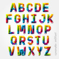Polygon alphabet colorful font style.