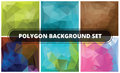 Polygon background set abstract geometric backgrounds polygonal vector design Stock Photography