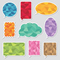 Polygon speech bubbles bubble stickers with patterns with transparent shadows Stock Image