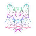 Polygonal abstract wolf silhouette drawn in one continuous line gradient colored isolated on a white backgrounds Royalty Free Stock Image