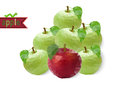 Polygonal apples illustration of abstract red and green with worm Stock Image