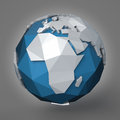 Polygonal earth planet d style illustration of eastern hemisphere Royalty Free Stock Images
