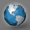 Polygonal earth planet d style illustration of western hemisphere Royalty Free Stock Images
