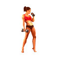 Polygonal female athlete, bodybuilder, personal trainer in a gym. Muscular woman. Royalty Free Stock Photo