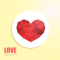 Polygonal heart on cut out white circle paper