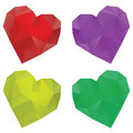 Polygonal hearts set of colorful crystallized on white background Stock Images
