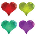 Polygonal hearts set of colorful crystallized on white background Royalty Free Stock Photography