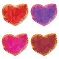 Polygonal hearts set of colorful crystallized on white background Royalty Free Stock Photos