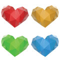 Polygonal hearts set of colorful crystallized on white background Stock Photos