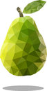 Polygonal pear fruit. Abstract geometric origami style. Raster image.