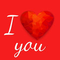 Polygonal red heart. Happy Valentine`s Day card with. Vector ill
