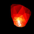 Polygonal red sky lanterns in the night Royalty Free Stock Images