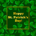 Polygonal three-leaved clover. St. Patrick`s Day greeting card.