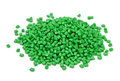Polymer granules pile of green isolated on white Royalty Free Stock Photography