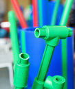 Polymer pipes and fittings samples of Royalty Free Stock Images