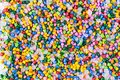 Polymeric dye. Plastic pellets. Pigment in the granules. Polymer beads Royalty Free Stock Photo