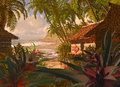 Polynesian beach hut a south pacific coastline scene with tropical plants and coconut palms Stock Photo