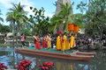 Polynesian cultural center in oahu hawaii canoe pageant at the it is one of s top attractions within simulated tropical Stock Images
