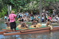 Polynesian cultural center in oahu hawaii canoe pageant at the it is one of s top attractions within simulated tropical Stock Photos