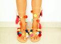 pom pom bohemian sandals Royalty Free Stock Photo