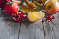 Pomegranate, apples and honey background Royalty Free Stock Photo