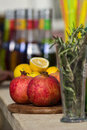 Pomegranate on the bar some fresh fruits a summer day Royalty Free Stock Photo