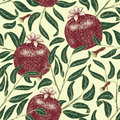 Pomegranate fruit vintage vector seamless pattern. Botanical fruit. Engraved pomegranate. Vector illustration Royalty Free Stock Photo