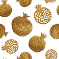Pomegranate hand painting seamless pattern. Gold abstract fruit background.