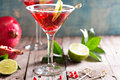 Pomegranate martini with lime Royalty Free Stock Photo