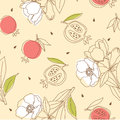 Pomegranate pattern with flower illustration Stock Photography