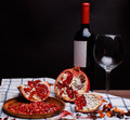 Pomegranate with red wine Royalty Free Stock Photo