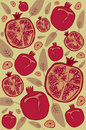 Pomegranate retro background Stock Image