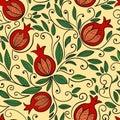 Pomegranate seamless pattern Royalty Free Stock Photo