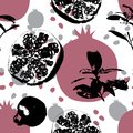POMEGRANATE SEAMLESS VECTOR PATTERN. ABSTRACT HAND DRAW TEXTURE. Royalty Free Stock Photo