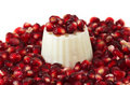 Pomegranate seeds with a white fresh cheese Stock Photos