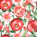 Watercolor seamless pattern with pomegranates, flowers, buds and pomegranate leaves on a white background