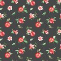 Watercolor seamless pattern of pomegranates, flowers, leaves on a dark background